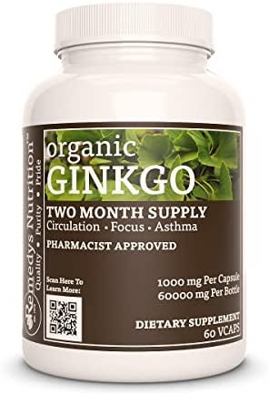 Ginkgo Leaf (Ginkgo Biloba) Remedy's Nutrition 1000 mg per Capsule / 50.000 mg per Bottle Vegan vcaps (Check Supplement Facts Box for a List of Organic Ingredients)