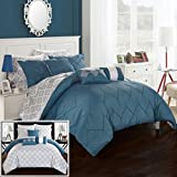Chic Home CS2025-AN 10 Piece Maddie Rope Like Pinch Pleated Reversible Oversized And Overfilled Bed In A Bag Comforter Set With Sheet Set, Queen, Blue