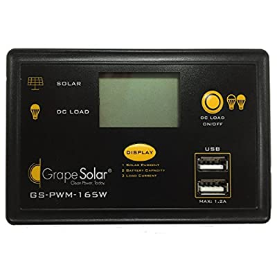 Grape Solar GS-PWM-165W PWM Solar Charge Controller, 165-watt