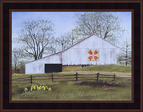Flowers Art Quilt (Tulip Quilt Block Barn by Billy Jacobs 15x19 White Barn Flowers Spring Country Primitive Folk Art Print Wall Décor Framed Picture)