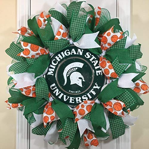 Michigan State Basketball Wreath for front door with deco mesh & ribbon, MSU, 26