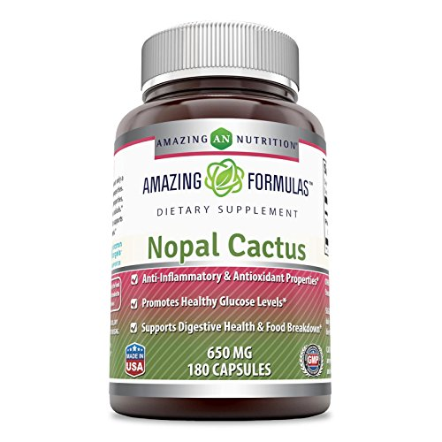Cactus Capsules - Amazing Formulas Nopal Cactus 650 Mg 180 Capsules - Anti-Inflammatory & Antioxidant Properties, Promotes Healthy Glucose Levels, Supports Digestive Health & Food Breakdown.