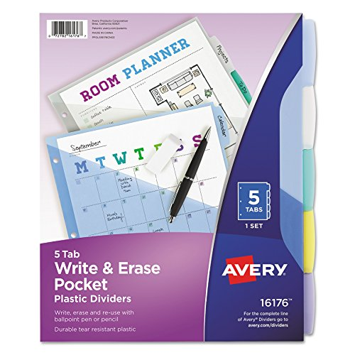 Avery Pockets Insertable (Avery 16176 Write & Erase Big Tab Plastic Dividers w/ Slash Pocket, 5-Tab, Letter)