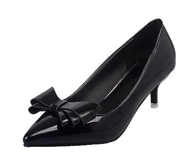 Damen Spitz Zehe Rein Mittler Absatz Ziehen auf PU Pumps Schuhe,EuD71 Schwarz 41 AgeeMi Shoes