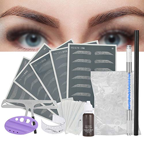 3D Eyebrow Tattoo Accessories Set, Microblading Semi Permanent Eyebrow Makeup Tools,Tattoo Pen+Eyebrow Ruler+Exercise Skin+Pigment Rings+Practice Ink+Tattoo Needles+Eyebrow Pencil+Pigment Ink