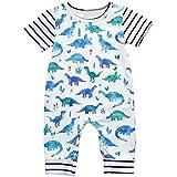 Fineser Baby Boys Girls Cartoon Dinosaur Print Short Sleeve One Piece Romper Jumpsuit Playsuit Outfits 6-24M (White, 24M)