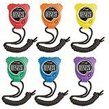 Champion Sports Cronómetro Temporizador: Resistente al Agua, Reloj Digital de Mano con cronómetro Deportivo con visualización Grande para niños o Entrenadores, Color Brillante, Paquete de 6