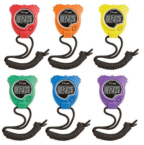 Champion Sports 910SET Stopwatch Timer Set: Waterproof, HandHeld Digital Clock Sport Stopwatches with Large Display for Kids or Coach - Bright Colored 6 Pack from Champion Sports