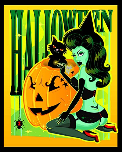 Halloween Witch by Andrea Young Pin-up Girl Pumpkins Cat Framed Wall Art Print -