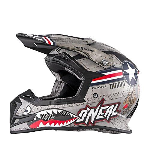 5 Off Road Helmet (O'Neal 5 SRS Mens  Wingman Helmet (Metal/White, X-Large))