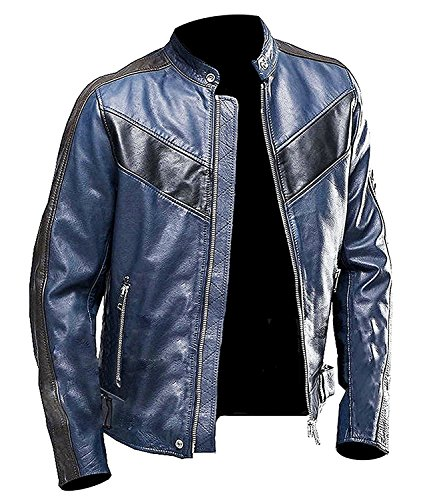 Motorcycle Mens Navy Blue (Men's Cafe Racer Vintage Style Motorcycle Leather Jacket | Vintage Cafe Racer Jacket (M, Navy Blue Cafe Racer))