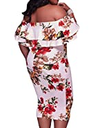 Women's Sexy Ruffle Off Shoulder Plus Size Casual Party Bodycon Dress