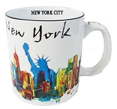 New York Souvenir 20 Oz Large Coffee Mug with Graffiti Art of Statue of Liberty and NYC Skyline -
