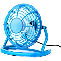 HuntGold Mini Table Desk Fan Portable Plastic Personal Cooling Cooler USB Plug With Key Switch-Blue