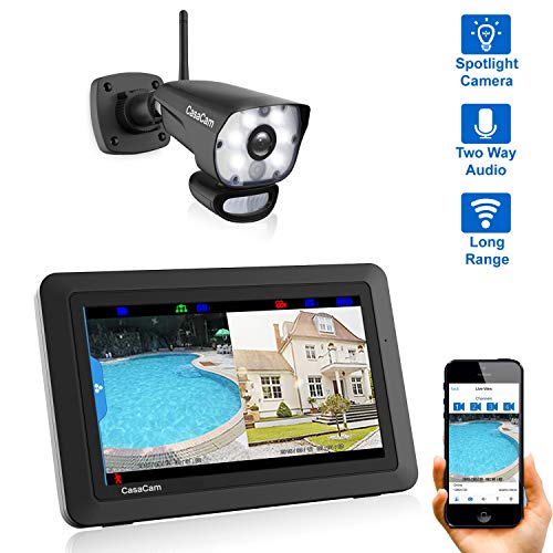 CasaCam VS1001 Wireless Security Camera System with HD Spotlight Camera and 7″ Touchscreen Monitor (1-cam kit)