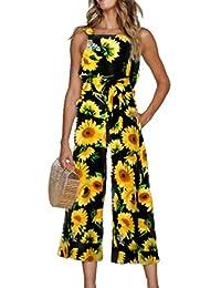 Women Summer Sunflower Strap Jumpsuit Sleeveless Wide Leg Pants Rompers