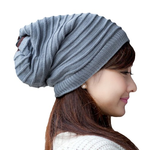 LOCOMO Women Girl Striped Stripes Pattern Slouchy Knit Beanie Crochet Rib Hat Tube Winter Warm FFH006GRY (Striped Knit Hat Pattern)