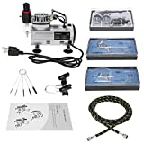 KKmoon Airbrush Kit Compressor 3 Airbrush + Mini Compressor Airbrush Kit + Nylon Braided Hose Cleaning Brush Paint + Art Food W / In / Ceramics Colored Temporary Tattoo