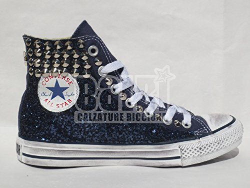 Converse all star hi blu glitter blu borchie ( prodotto artigianale )