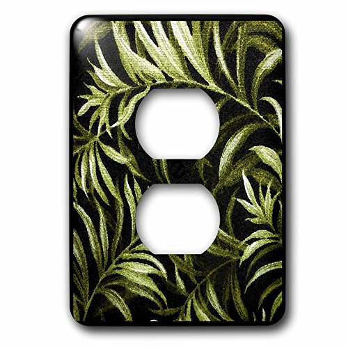3dRose lsp_39684_6 Painted Tropical Ferns On Black - 2 Plug Outlet Cover