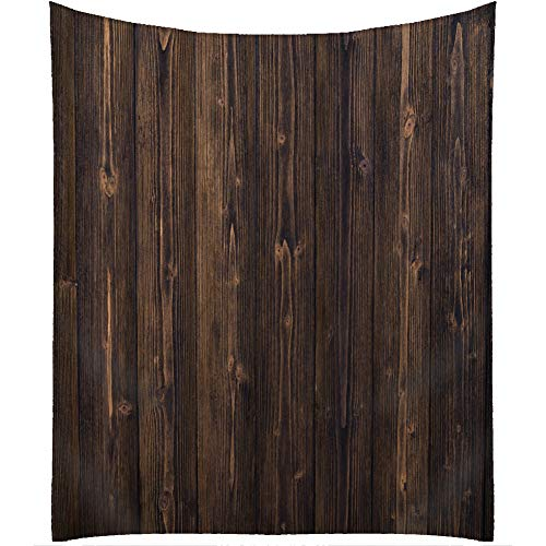 (QCWN Wood Tablecloth,Dark Brown Grid Wooden Retro Boho Style Tablecloth,Dining Room Kitchen Rectangular Table Cover. Brown 55x55Inch)