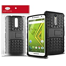 Cotechs - Tough-Tread Military Heavy Duty Dual Layer Rugged Protective Shockproof Case For Motorola Moto X Play With Kick Stand