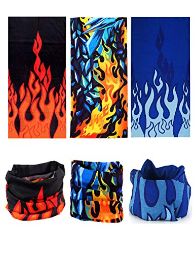 12-in-1 3PCS Seamless Headbands Multifunctional Headwear Mask Bandana Balaclava Outdoor Sports Ridding Fishing Hiking Runniung Motorcycling skiing (Colourful Fire)