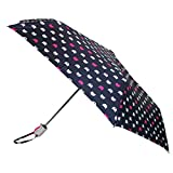 ShedRain Women's Auto Open and Close Cat Face Print Compact Umbrella, Navy