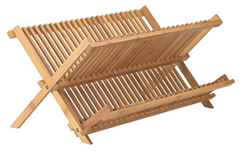 Helen's Asian Kitchen Bamboo Foldable Compact Dish Drying Rack, 20.5-Inches x 13-Inches