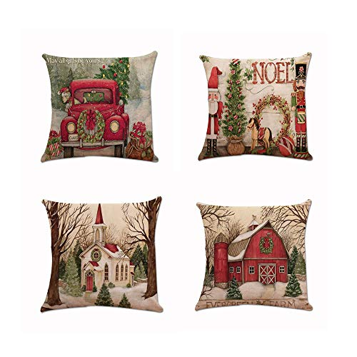 (4-Pack Christmas Throw Pillowcase Decor Sofa Cushion Cover Car Tree 18