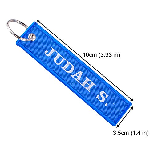 (Personalized Embroidered Key Tags Custom Keychain Linen Woven Luggage Tag (Blue 3.9''))