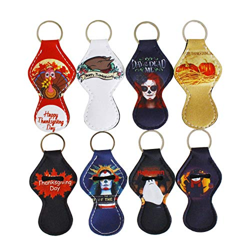 (8 Pack Lipstick Holder Keychain Chapstick Key Chain Holder, Lip Blam Keychain for Halloween Thanksgiving Day (8)