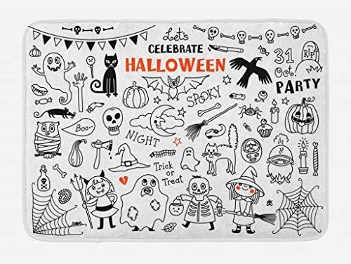 Halloween Bath Mat, Lets Celebrate Halloween Quoted Skeleton Cat Owl Night Drawings Bat, Plush Bathroom Decor Mat with Non Slip Backing, 23.6 W X 15.7 W Inches, Black White Burnt Orange ()