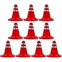 jojofuny 20Pcs Miniatuur Road Cone Diy Tiny Red Road Cone Borden Met Strip Patroon Simulatie Straat Blok Teken Speelgoed…