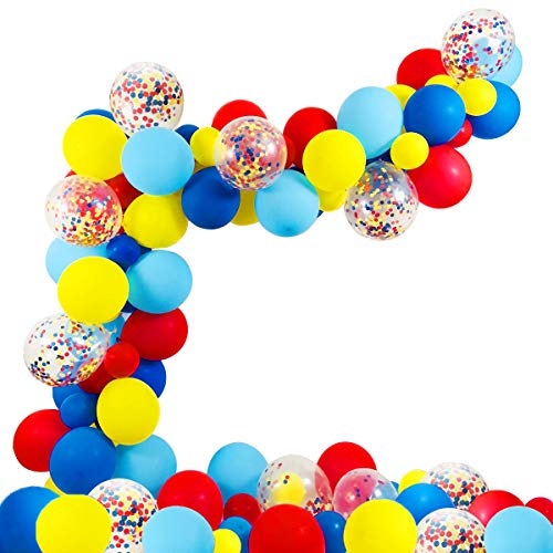 Dr Seuss Birthday Party Theme (Circus Party Supplies Balloons Arch Kit - 80 Pack Latex Balloons Confetti Balloon Garland Strip Set for Baby Shower, Paw Birthday Party, Carnival Circus Party)