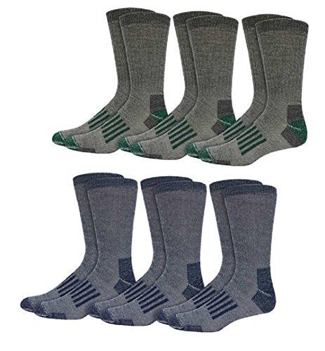 Mens Hiking Socks Outdoor Merino Wool Trail Crew Socks Full Cushion 6 Pairs (Extended Size - shoe sizes 10-13)