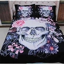 TRUST 100% 3D Skull Bedding sets Polyester Fully Reversible Modern Flower Skull Comforter Set, Queen Size, Multicolor (Super King Size)