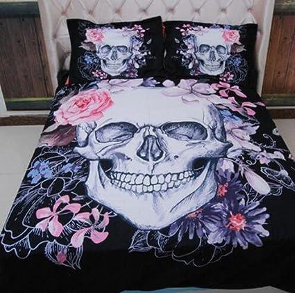 skull comforter set king Amazon.com: Trust 100% 3D Skull Bedding sets Polyester Fully  skull comforter set king