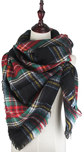 Vivian & Vincent Soft Classic Luxurious Blanket Tartan Square Scarf Wrap Christmas Red Green - C14 Green