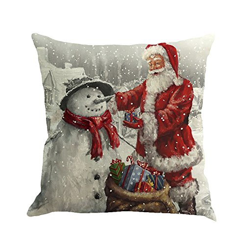 Christmas Pillow Case, ZOMUSA 1pcs Santa Claus holding gifts Printing living room decoration hug pillow covers 18x18 Inches (A)