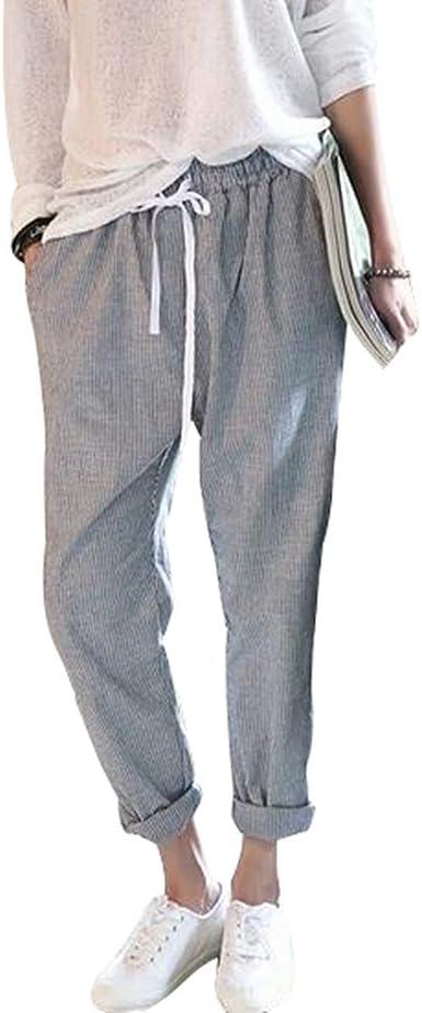 Pantalones De Cintura Alta Para Damas Pantalon A Rayas Sim Fit De Moda Pantalones Largos Pantalones Elegantes Pantalones Mujer Casuales Jeggings Para La Primavera Y El Otono Tallas Grandes Gris 2xl Amazon Es