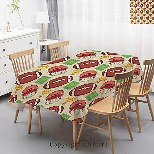 Printed Pattern Washable Table cloth Dinner Kitchen Home Decor Vintage Flower Decorative Square Linen Tablecloth,55x70 Inch,Football,Equipment Icons Arena Helmet Ball Trophy Cup Winning the Championsh