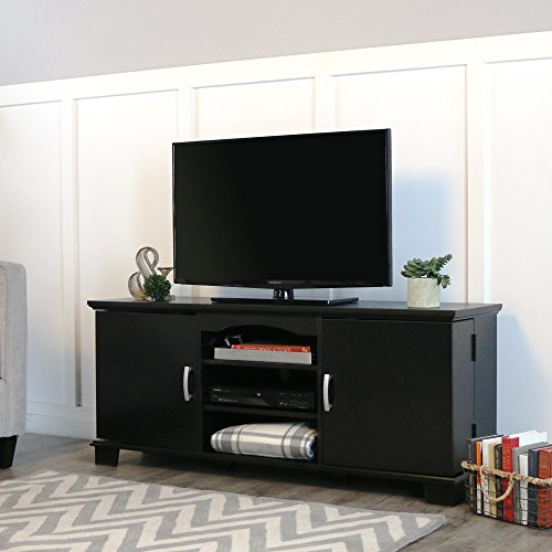 Walker Edison 60 Black Wood Storage TV Stand Console for Flat Screen TV s Up to 65 Entertainment Center