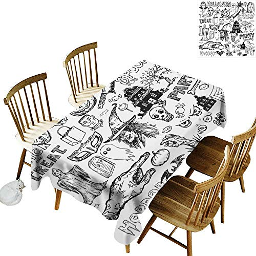 kangkaishi Vintage Halloween Iron-Free, Anti-fouling Holiday Long Tablecloth Table decorationHand Drawn Halloween Doodle Trick or Treat Party Severed Hand Design W14 x L72 Inch Black -