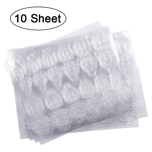 10 Sheets (240pcs) Double-side Nail Glue Sticker, Kalolary False Nail Glue Jelly Gel Tape Adhesive Tabs Nail Glue Transparent Flexible Adhesive Fake Nails Tips for ()