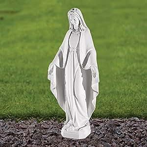 Estatuas de mármol Garden - Virgin Mary 52 cm diseño de frases religiosas en Escultura