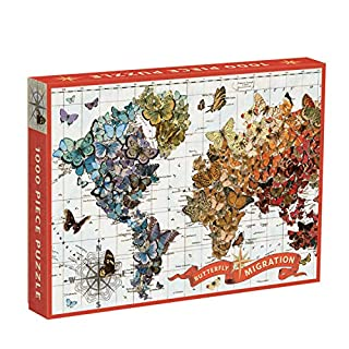 """Galison Wendy Gold Butterfly Migration Puzzle, 1000+ Pieces, 20"""" x 27'' - Vibrantly Illustrated Image of Butterflies Over a World Map - Thick, Sturdy Pieces - Perfect for Family Fun"""