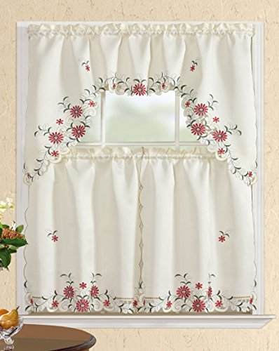 36 Collection American (All American Collection Modern Embroidered 3pc Kitchen Curtain Set | White/Red | 60X36/30X36)