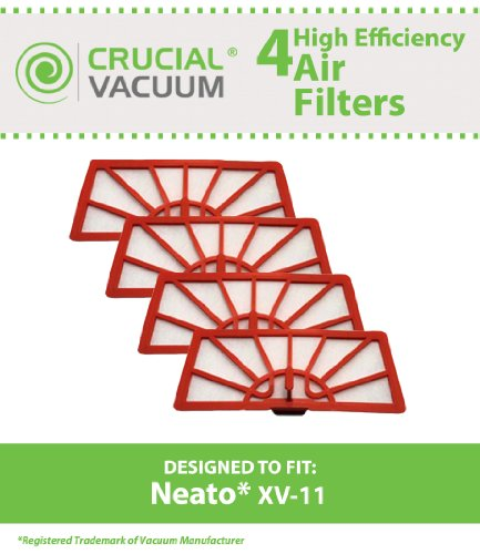 4 Neato XV-11 Air Filters Fits Neato XV-11 XV11 All Make fall Robotic Vacuum Cleaner System; Compare to Neato Filter Part #945-0004 (9450004); Designed & Engineered by Crucial Vacuum