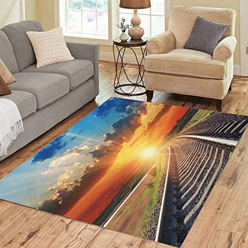 Semtomn Area Rug 3' X 5' Blue Track Dramatic Sunset Over Railroad Orange Fantasy Sun Home Decor Collection Floor Rugs Carpet for Living Room Bedroom Dining Room